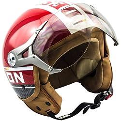 SOXON SP-325-PLUS Red · Biker Scooter Moto motocicleta Piloto Helmet Retro Vintage Bobber Mofa Cruiser Urban Chopper Urbano Casco Demi-Jet Vespa · ECE certificado · incluyendo parasol · incluyendo bolsa de casco · Rojo · L (59-60cm)