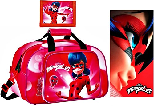 safta Miraculous Ladybug Sporttasche, Badetuch und Geldbörse, Rot
