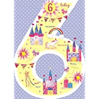 Greeting Card (GBCC8363) Female Birthday - Age 6 - Unicorn and Castles - Flitter Finish