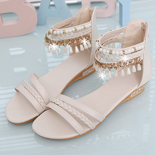 Azbro Women's Open Toe Ankle Strap Wedge Heels Bohemian Sandals Blue
