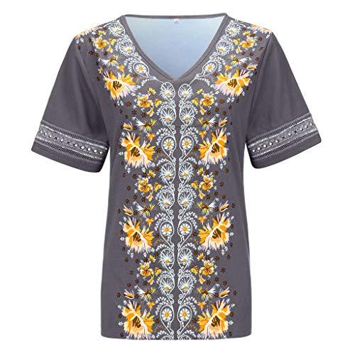 cktes Kurzarmshirt Sommer T-Shirt Oberteile Casual Mode Retro Solid Print BeiläUfige Lose Hemd Bluse Tops Frauen Kurzarm Blumen Pumps Gedruckt Tops ()