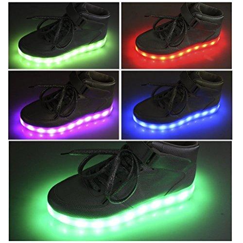 (Présents:petite serviette)JUNGLEST (TM) LED Light Shoes Sneakers 7 Couleur Homme Femme USB Charge Lumière Lumineux Clignotants Chaussures d Blanc Low Cut