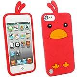 Kit Me Out FR Coque aspect velouté silicone pour Apple iPod Touch 5 / Touch 6 - rouge motif poulet mignon