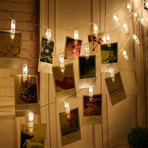 WRISTCHIE 3 ft 30 LED Lichterketten Clips Foto Batteriebetrieben für Hochzeit Party Home Decor Lichter zum Aufhängen von Fotos, Karten und Kunstwerken 5ft, 10 Light Clips warmweiß -