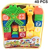 Learning Blocks For Kids With Cartoon Figures Bag Packing, Best Gift Toy - Multicolor (Set Of 40 Pcs)