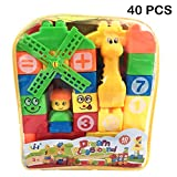 #4: Learning Blocks For Kids With Cartoon Figures Bag Packing, Best Gift Toy - Multicolor (Set Of 40 Pcs)