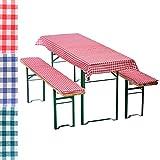 Bierbankauflagen-Set 3-teilig in rot: 1 Tischdecke 130 x 70 cm + 2 gepolsterte Bierbankauflagen 110 x 25 cm - weitere Farben wählbar