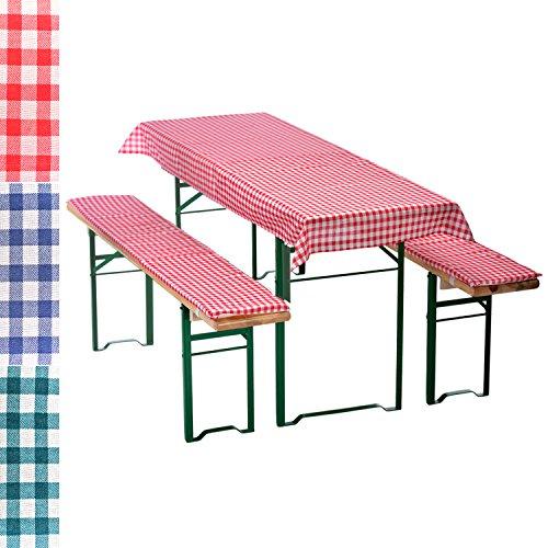 Bierbankauflagen-Set 3-teilig in rot: 1 Tischdecke 130 x 70 cm + 2 gepolsterte Bierbankauflagen 110...