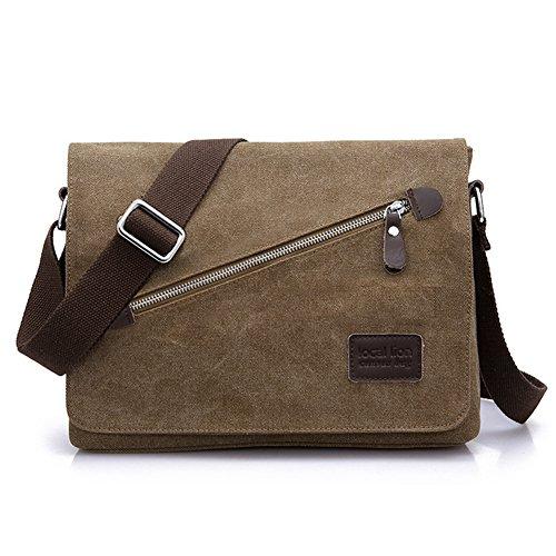 Aidonger Local Lion Herren Canvas Schultasche Umhängetasche Schultertasche Retro Messenger Bag (Kaffee) (Canvas Khaki)