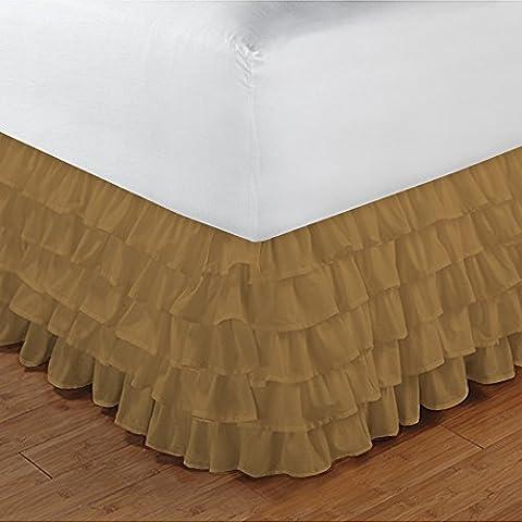 600TC 100% cotone egiziano, finitura elegante 1pcs multi Ruffle Giroletto A Goccia (lunghezza: 26cm), Cotone, Gold Solid, EU_Super_King