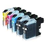 5 Tintenpatronen für Brother LC-225XL 227XL, MFC-J4420DW MFC-J4620DW 4-in1, DCP-J4120DW MFC-J4425DW MFC-J4625DW, Schwarz je 28ml, Color je 13ml