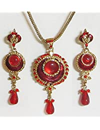 DollsofIndia Red Stone Studded Pendant With Chain And Earrings - Stone And Metal (CI24-mod) - Red