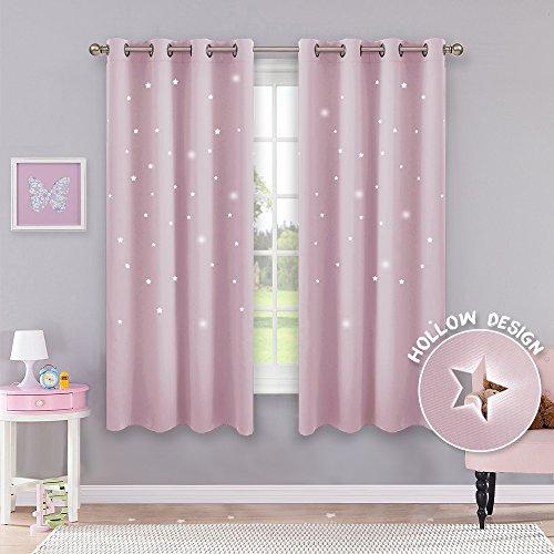 Pony dance tende sole bambini neonati ragazze finestre soggiorno termiche antimoche con stelle vuote rosa chiaro/drappeggi per interni salotto moderni cameretta, 132 x 158 cm (l x a), 2 panelli