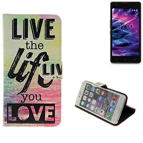 K-S-Trade® Für -Medion Life E5020- Schutz Hülle 360° Wallet Case ''live Life Love'' Schutzhülle Handy Tasche Handyhülle Etui Smartphone Flip Cover Standfunktion (1x)