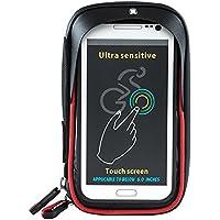Wheelup Ciclismo Bolso Manillar - Impermeable Top Tubo Manillar Bolso Bicicleta Front Frame Bolsa Teléfono Soporte de Montaje con Pantalla Táctil para Celulares por Debajo de 6 Pulgadas (Rojo)