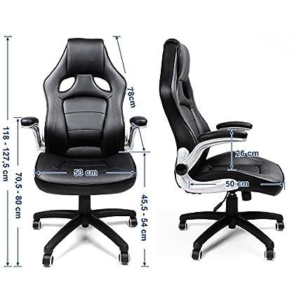 Songmics Silla giratoria de oficina Silla de escritorio Racing negro Recubrimiento de PU Reposabrazos ajustable OBG62BUK