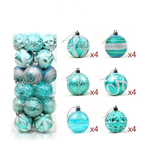 24 Stück Weihnachtskugeln Box Christbaumschmuck aus Kunststoff bis 6 cm Glänzend Glitzernd Weihnachten Deko Anhänger (Türkis) (Silver Lake Halloween-partys)