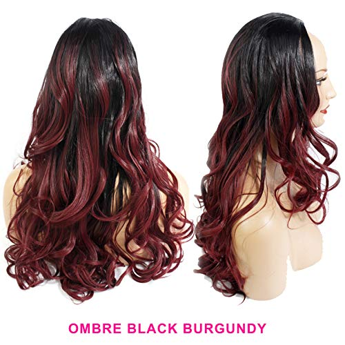 56cm - Damen Wellenförmige 3/4 Halbperücke - Schwarz/Burgund Ombre - Hitzebeständige Kunstfaser - Clip In Hair Piece Extension - 250g - Sieht aus und fühlt sich an wie echtes Haar von Elegant Hair