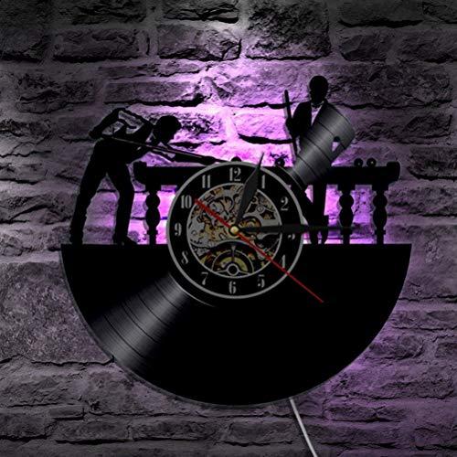 YNMB KS Billard LED-Wanduhr Modern Design Klassik CD-Uhren 7 Schallplatte an der Wand eine Uhr mit Hintergrundbeleuchtung Home Decor -