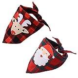BINGPET Hunde-Halstuch/Halstuch mit Handgemachter Applikation (Weihnachtsmann und Elch), waschbar, dreieckig, für Welpen, 2 Stück