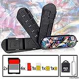 Speicherkarte Tasche im Schweizer Taschenmesser-Stil - Inklusive Micro SD Reader (USB) und Auswerfstift - Für 2X SD, 6X Micro SD, 1x Mini SIM, 1x Micro SIM und 1x Nano SIM - Für Handys und Tablets