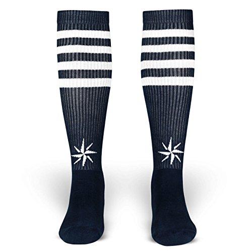 Jack   Socken von ROCKASOX   Blau, Weiß gestreift mit Windrose   kniehoch   Unisex Strümpfe Size L (43-46)