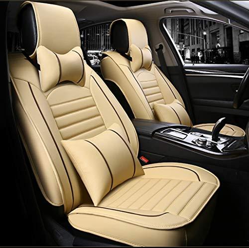 Ededi Leder Sitzbezüge-Set Kissen, Autositzbezüge Set für die Vordersitze & Rückbank Satz 9 Stück Zum 5 Sitze (Farbe : Beige)