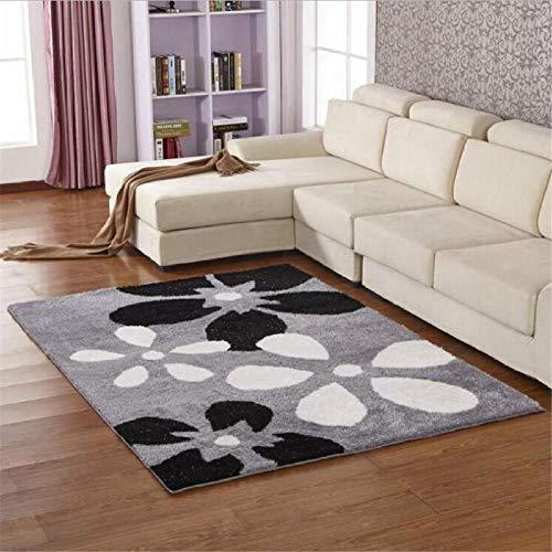 Moderne weiche seidige Shaggy teppiche matten schwarz weiß Blumenmuster Design dicken Haufen Teppich 200x300 cm -