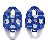 Sharplace 2 x 32KN Doppelte Riemenscheibe Seilrolle Umlenkrolle - Blau