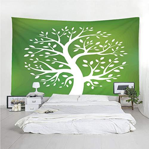 Lovetapestry albero verde e biancoarazzo mandala telo indiano, hippy bohémien arazzo da parete psichedelico,teli copritutto arredo,dimensione matrimoniale,un regalo di natale perfetto 229x200cm