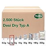 Desi Dry Typ A staubarm | 2 Gramm | 2500 Stück | Silica-Gel | Silika-Gel | Trockenmittel-Beutel | karton-verpackt (Industriemenge) | weitere Größen erhältlich