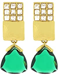 Le Jewelbox géométrique Indo Western Vert Kundan American Diamond Drop  Boucles d oreilles pour femme 43b1bd65495