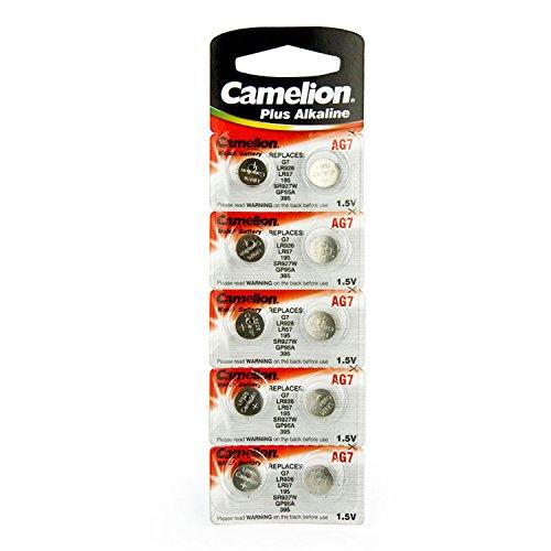 10 Camelion AG7 / LR57 / 195 / 395 Knopfzelle Alkaline Alkali Batterie, 10-er Pack, Lange Haltbarkeit (Haltbarkeitsdatum markiert)