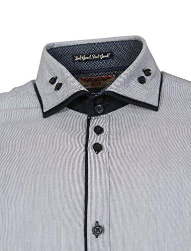 d3868d554355e5 ... Tokyo Laundry Herren Deniro Fein Streifen Langarm Collared Shirt Größe  S-XXL Marine ...