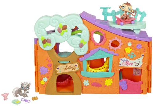 Littlest Pet Shop - PETS ONLY! Clubhouse / CLUBHAUS - Super-Playset mit Eichhörnchen #484 & Affe #485 - OVP (Super-pet-dschungel)