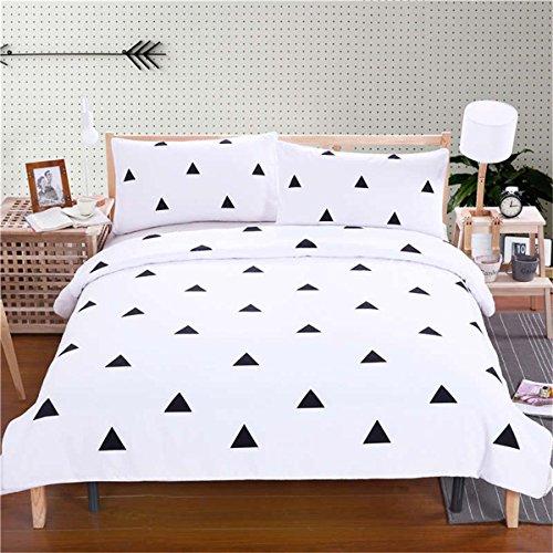 3pcs Bettdecke Cover weiß geometrische Muster 3D Bettdecke Decke Set Bettwäschesets mit Kissen Koffer , Twin