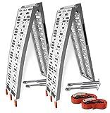 Hecht Profi Aluminium Auffahrrampe mit Standfüßen und praktischen Tragegriff - Ideale Rampe für Rasenmäher, Motorrad, Roller und Quad - Mit einem Spanngurt (Silber, 2 Rampen)