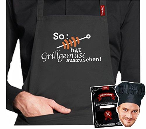 #GRILL: Original HARIZ® Collection Grillschürze Premium // 24 Designs wählbar // Schwarz // Schürze mit Urkunde & Kochmütze // Geschenk #GRILL22: Grillgemüse
