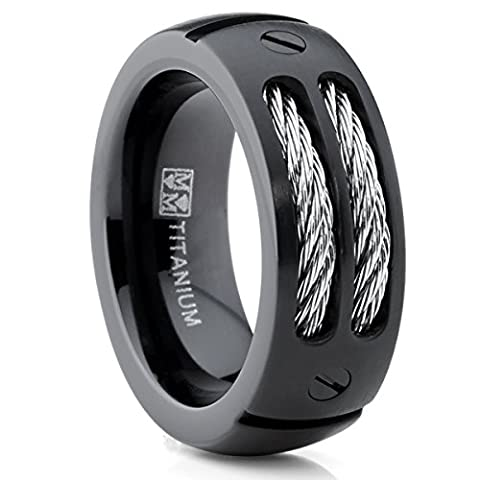 Ultimate Metals Co. 8MM Men's Black Titanium Ring Wedding Band With Stainless Steel Cables and Screw Design Size