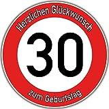 Tortenaufleger Fototorte Tortenbild Warnschild 30. Geburtstag rund 20 cm GB06 (Zuckerpapier)