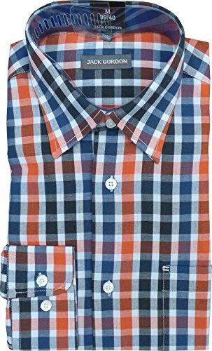 Herren Hemden, Langarm Kentkragen Karo oder Streifen auch Übergrößen 240 hell Karo/Marine/Schwarz/Orange