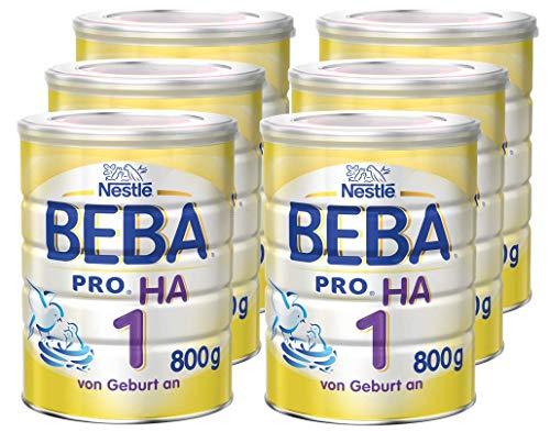 Nestlé BEBA PRO HA 1 Anfangsnahrung, hypoallergene Säuglings-Nahrung, hydrolisierte Baby-Nahrung, ab Geburt, sättigend, 6er Pack (6 x 800 g)