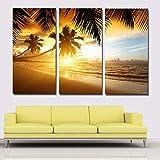 3 Paneles Costa del mar Playa Trópicos Palmas Árboles Salida del sol Lienzo, impresión de carteles para el hogar Decoración de la pared Sala de estar 40x80cm 3pcs Sin marco