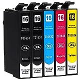 5 Cartouches d'encre compatible avec Epson 16-XL / T1626 / T1636 pour Epson WorkForce WF-2010 WF-2500 WF-2510 WF-2520 WF-2530 WF-2540 WF-2630 WF-2650 WF-2660 WF-2700 WF-2750 WF-2760