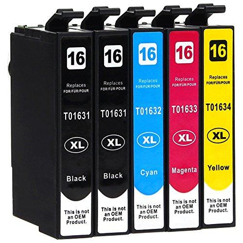 5 Druckerpatronen kompatibel zu Epson 16-XL / T1626 / T1636 (2x Schwarz, 1x Cyan, 1x Magenta, 1x Gelb) passend für Epson WorkForce WF-2010 WF-2500 WF-2510 WF-2520 WF-2530 WF-2540 WF-2630 WF-2650 WF-2660 WF-2700 WF-2750 WF-2760 Tinte Für Epson-drucker Wf-2660