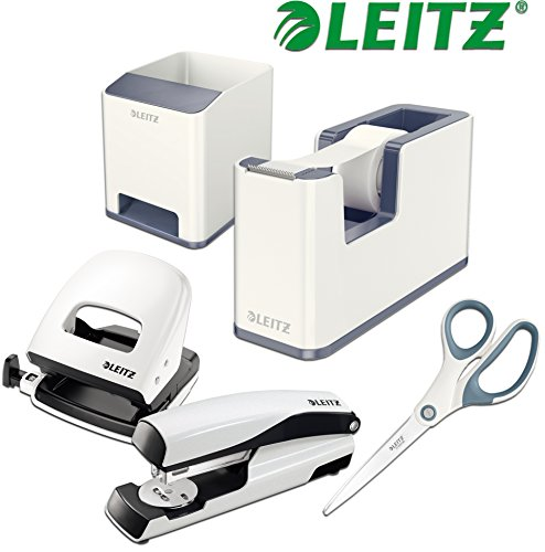 Leitz WOW Schreibtisch Accessoires (Komplett - Set, Weiß │ Grau) (Locher Set)
