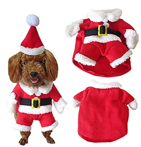 Moolecole Cawaii Pet Clothes Christmas Clothes for Dogs Christmas Eve Clothes Winter Costume Sweater and Hat