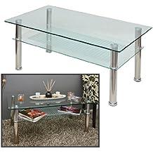 ts-ideen - Mesa auxiliar (cristal y acero inoxidable, 110x60cm, vidrio templado de 10mm)