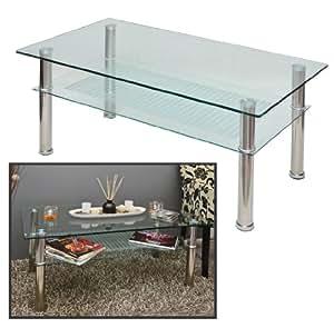 glastisch 110 x 60 cm wohnzimmertisch couchtisch aus edelstahl mit 10 mm esg. Black Bedroom Furniture Sets. Home Design Ideas