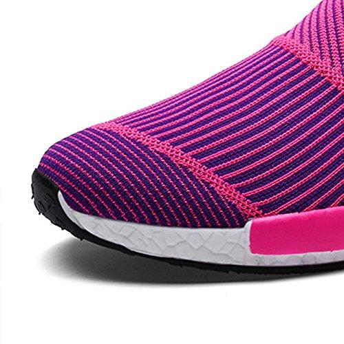 Mr. LQ - Moda elastico panno di maglia Sneaker DONNA rose red